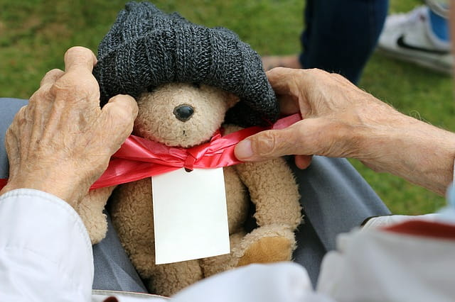 Mains d'un senior tenant un ours en peluche dans une maison de retraite.