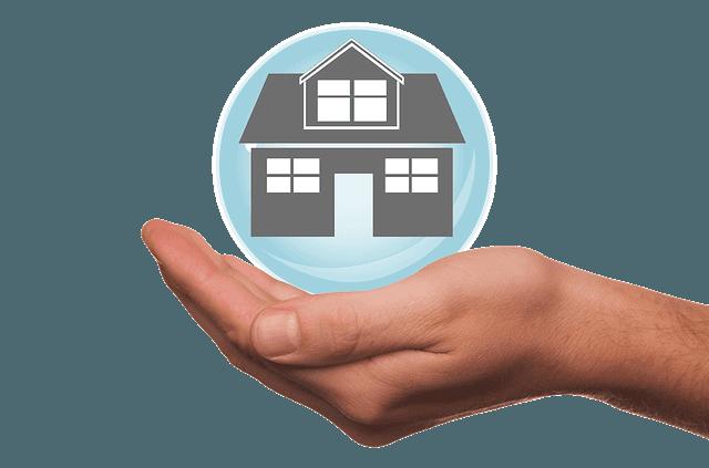 Boule avec une maison dans une main.