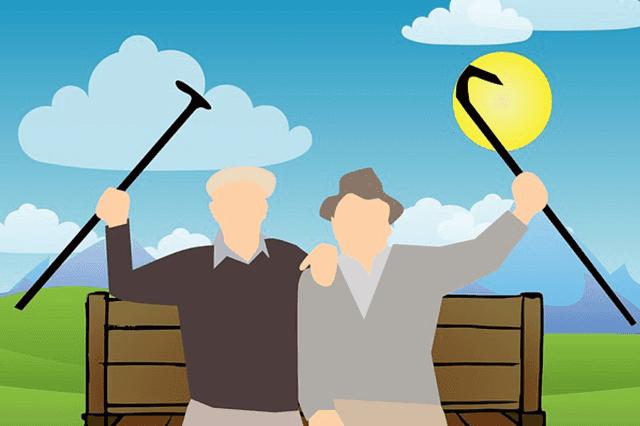 Image de deux retraités profitant du soleil.