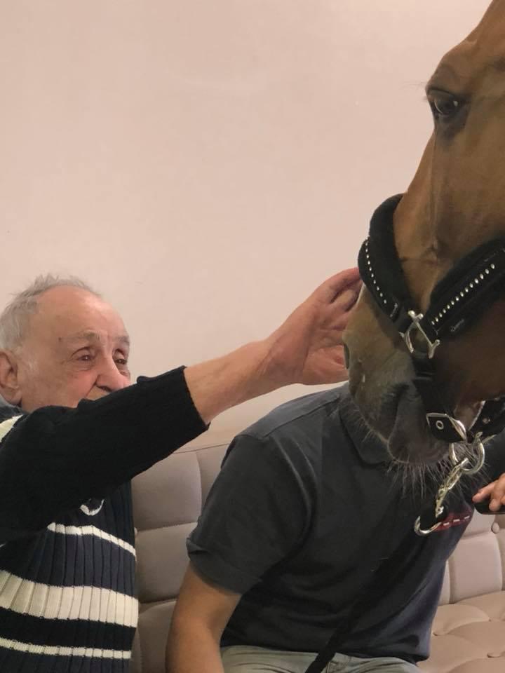 Un résident de l'EHPAD Les jardins de Saint-Paul à Antibes avec le cheval Peyo.