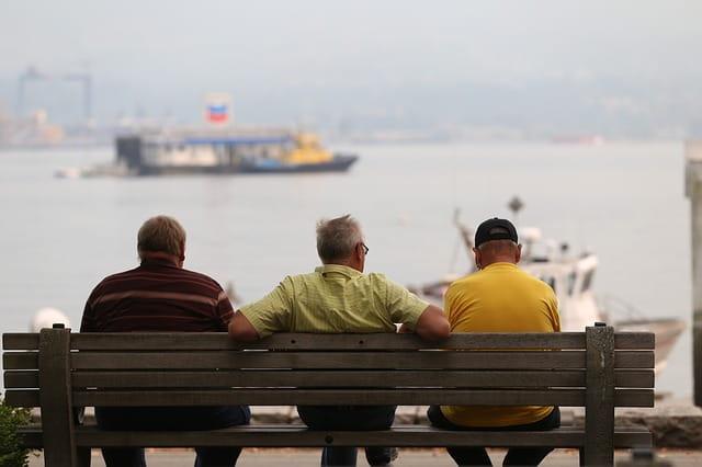 Trois hommes âgés assis sur un banc, de dos.