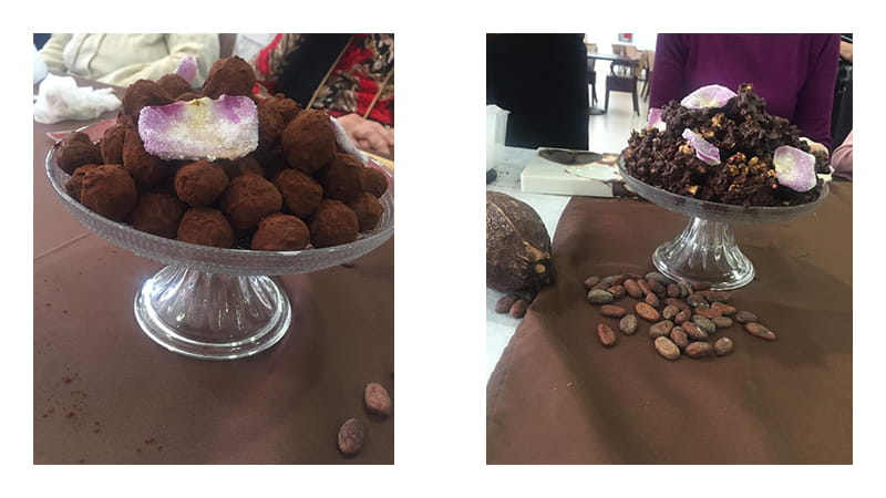 Truffes et roses des sables en chocolat réalisés par les seniors Senectis.