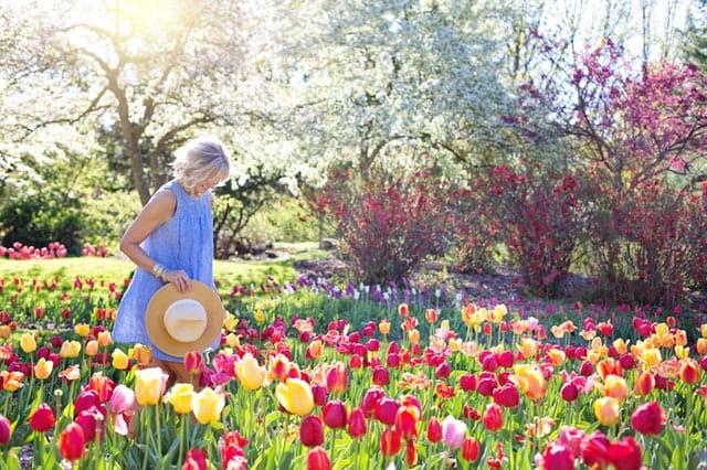 Femme dans un champ de fleurs.