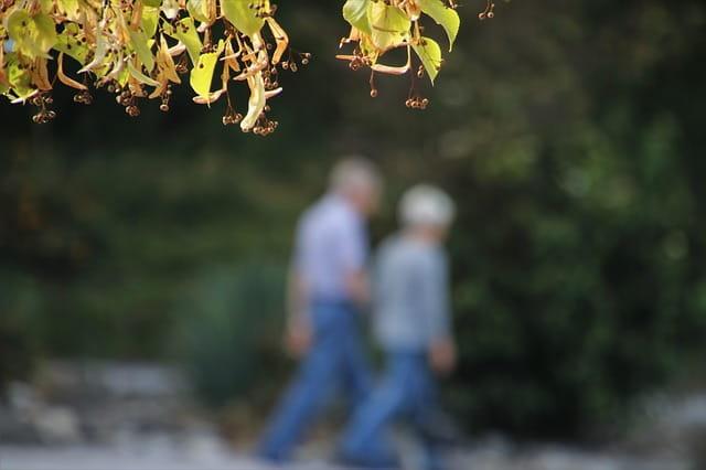 Deux personnes âgées en balade.