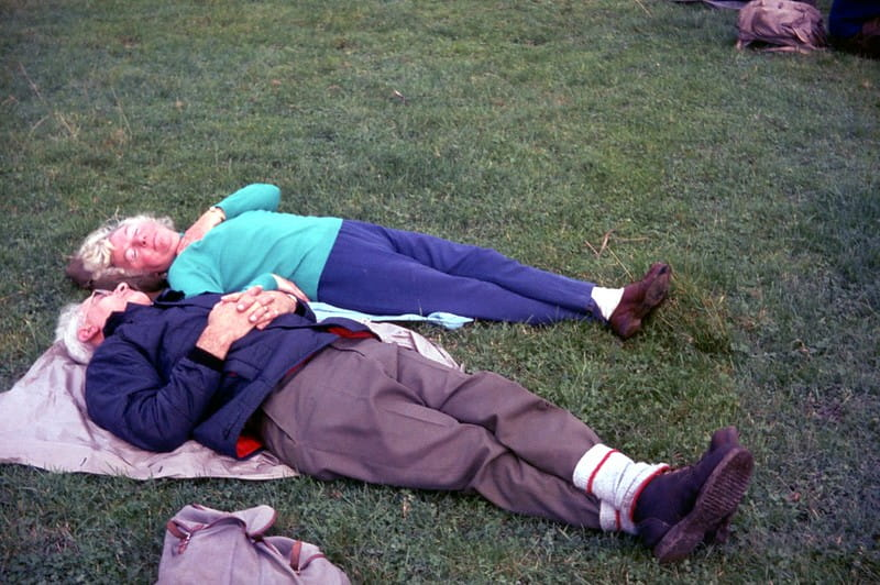Couple de personnes âgées endormi dans l'herbe.