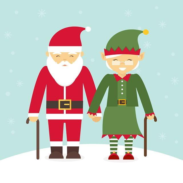 Un dessin de deux personnes âgées en père Noël et lutin.