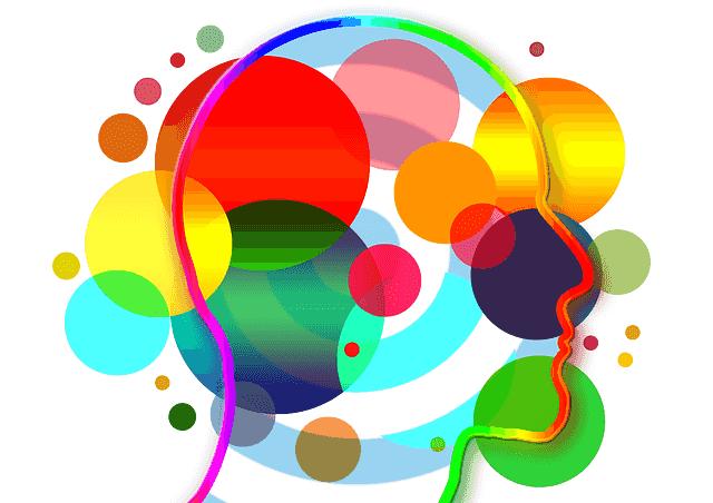 Ronds de couleurs sur une tète dessinée