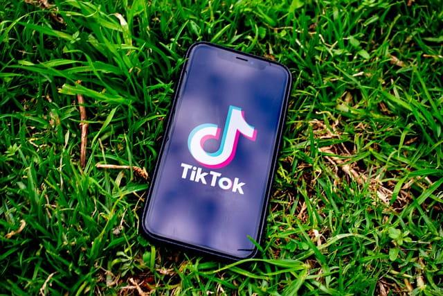 Écran de téléphone ouvert sur tiktok posé dans l'herbe.